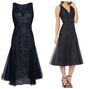 Carmen Marc Valvo Infusion Sequin Tea Length Gown